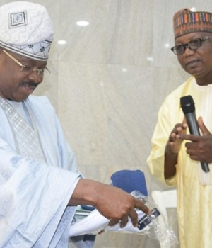 L-R: Oyo State Governor, Senator Abiola Ajimobi; and National Coordinator, Rural Access and Mobility Project, Mr. Ubandoma Ularamu, during a visit to the governor to introduce the project to the state, in Ibadan... on Thursday
