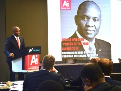 Elumelu, Chairman Heirs Holdings and recipient of the 'Person of the year' award, making a speech after receiving the award at the NSADAQ Office in NY.