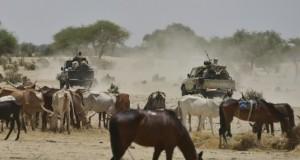 Niger soldiers patrol near a village in the Diffa region.