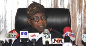 The Minister of Information and Culture, Alhaji Lai Mohammed, addressing a world press conference on the release of 21 Chibok Girls... in Abuja on Thursday