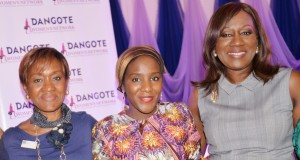 Managing Director, The Daisy Management Centre, Ibiai Ani; Executive Director, Dangote Industries Ltd, Halima Aliko Dangote; Founder and Chief Executive Officer, Bestman Games Ltd, Nimi Akinkugbe; at the Dangote Women's Network Career Mapping & Financial Competence Development Workshop held in Lagos
