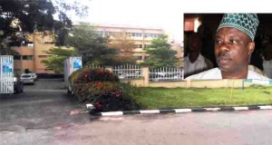 Government Secretariat, Oke-Mosan, Abeokuta deserted, inset is Gov. Ibikunle Amosun