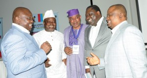 L-R: Lagos State Governor, Mr. Akinwunmi Ambode; Speaker, Lagos State House of Assembly, Rt. Hon. Mudashiru Obasa; Senator representing Lagos East Senatorial District, Mr. Gbenga Ashafa; former Lagos State Commissioner for Tourism, Mr. Tokunbo Afikuyomi; Senator representing Lagos West Senatorial District, Mr. Olamilekan Adeola Solomon during the Opening session of the Executive/Legislative Retreat, with the theme 'Good Governance in a Recession', at the Eko Hotel & Suites, Victoria Island, Lagos, on Friday,