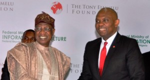 L-R: MINISTER OF INFORMATION AND CULTURE, ALHAJI LAI MOHAMMED, AND CHAIRMAN OF THE TONY ELUMELU FOUNDATION, MR. TONY ELUMELU, AFTER SIGNING A COOPERATION AGREEMENT IN LAGOS ON TUESDAY,