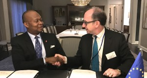 Group Managing Director/CEO, UBA Plc, Mr. Kennedy Uzoka and Vice President of the European Investment Bank(EIB), Mr. Ambrose Fayolle, during the agreement signing ceremony for 60 million euros facility from EIB for on-lending to Nigerian businesses, in Washington DC during the world bank IMF meetings at the weekend