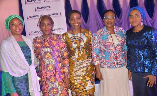 Dangote Foundation Board Member, Hajara Adeola; Executive Director, Dangote Industries Ltd, Halima Aliko Dangote; Chairperson, NASCON Allied Industries Plc, 'Yemisi Ayeni; Non Executive Director, Dangote Sugar Refinery Plc, Benedikter Molokwu; Executive Director, NASCON Allied Industries Plc, Fatima Aliko Dangote; at the Dangote Women's Network Career Mapping & Financial Competence Development Workshop held in Lagos