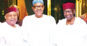 Sen. Ken Nnamani, President Buhari and Abba Kyari