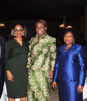 L –R: Managing Director/CEO, First Bank of Nigeria Limited and Subsidiaries, Dr. Adesola Adeduntan; Chairman, First Bank of Nigeria Limited, Mrs. Ibukun Awosika; Honourable Minister of Finance, Mrs. Kemi Adeosun; Former Deputy Governor of Lagos State, Mrs. Sarah Sosan; and Deputy Managing Director, First Bank of Nigeria Limited, Mr. Gbenga Shobo at the launch of FirstGem - a New Lifestyle Offering for Women