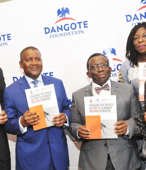 L-R: Executive Director, Dangote Foundation, Aigboje Aig-Imoukhuede; Chairman, Dangote Foundation, Aliko Dangote; Honourable Minister of Health, Prof. Isaac Adewole; Chief Executive Officer, Dangote Foundation, Zouera Youssoufou; and Executive Director, Dangote Foundation, Halima Dangote at the official launch of Policy Document on Private Sector Engagement Strategy for Malaria Elimination (PSESP) in Nigeria, on Monday,