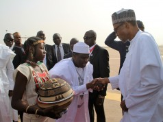 Gov. Tambuwal receiving President Buhari on arrival in Sokoto