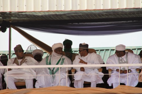 President Muhammadu Buhari, Governor Aminu Waziri Tambuwal, Sultan Muhammad Sa'ad Abuakar at durbar organised to honour the monarch as he clock 10 years on the throne.