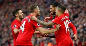 Liverpool players celebrating white-washing of Watford