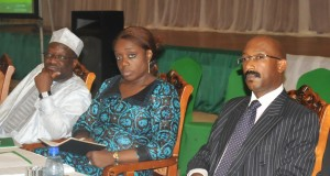 L-R: Permanent Secretary, Federal Ministry of Finance, Dr. Mahmoud Isa-Dutse, Minister of Finance, Mrs. Kemi Adeosun and a representative of FBN Capital, Mr. Patrick Mgbenwelu, at the Knowledge Sharing Forum on PPPs as a Stable Financing Vehicle for Infrastructure in Nigeria..at the Presidential Villa, Abuja on Thursday