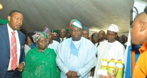 Lagos State Governor, Mr. Akinwunmi Ambode (right); President, Nigeria Agric Business Group, Alhaji Sani Dangote (right); Deputy Governor, Dr. (Mrs.) Oluranti Adebule (2nd left) and Special Adviser on Food Security, Mr. Sanni Ganiyu Okanlawo (left) at the exhibition stands during the Lagos Food Security Summit and Exhibition at the Airport Hotel, Ikeja, on Thursday