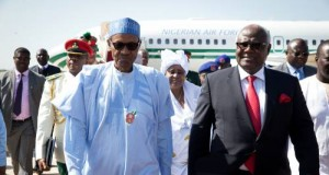 Buhari, Sirleaf-Johnson ans Bai Koroma in Banjul, The Gambia