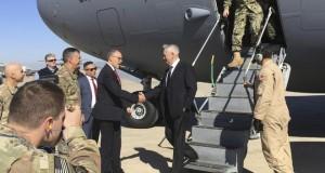 US Defense Secretary Jim Mattis arrives Monsul