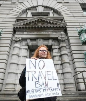 Beth Kohn protests outside the 9th U.S. Circuit Court of Appeals courthouse in San Francisco
