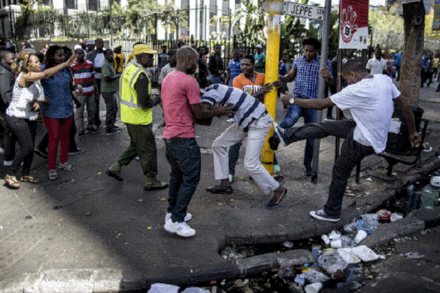 South African police break up anti-immigrant protests