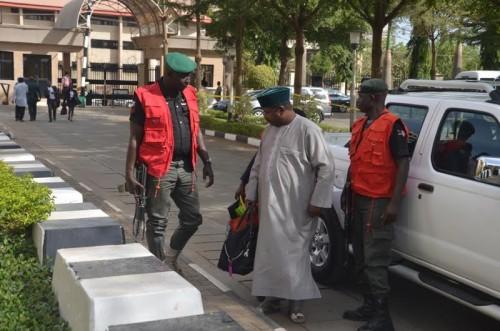 Andrew Yakubu arriving the court premises