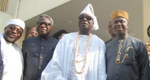 Dakuku Peterside, ist right, lead other NIMASA team to Oba Rilwan Akiolu
