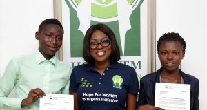 Ambode's wife and winners of the scholarship