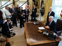 President Trump reacts to the AHCA health care bill being pulled as he appears with HHS Secretary Price in the Oval Office