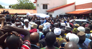 The remains of Adeleke carried for burial
