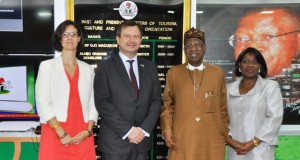 From Left: Deputy British High Commissioner to Nigeria Harriet Thompson; the High Commissioner, Mr. Paul Arkwright; Minister of Information and Culture, Alhaji Lai Mohammed, and the Permanent Secretary, Federal Ministry of Information and Culture, Mrs. Ayotunde Adesugba