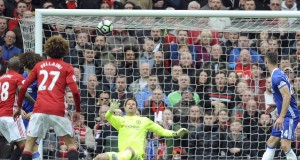 Manchester United's Ander Herrera, not in picture, scores his side's second goal during the English Premier League soccer match between Manchester United and Chelsea at Old Trafford stadium