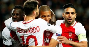 Monaco players celebrating