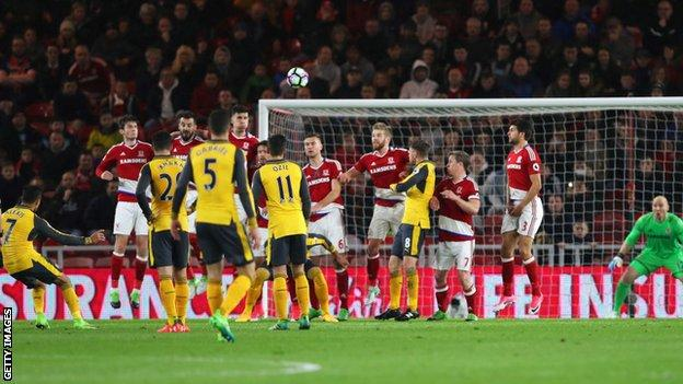 Arsenal F.C. keep Champions League hopes alive with Middlesbrough win