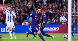 Messi scores twice against Sociedad