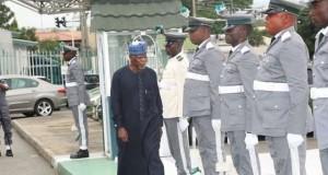 Customs boss, Hameed Ali inspecting parade