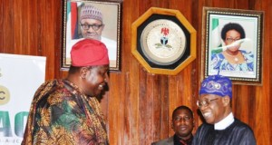 Segun Runsewe, presenting MoU to Information Minister, Lai Mohammed