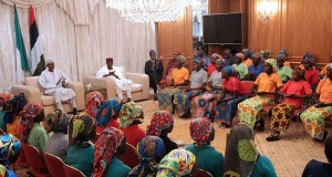 President Buhari addressing the freed Chibok girls