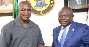 Evander Holyfield and Gov. Ambode of Lagos