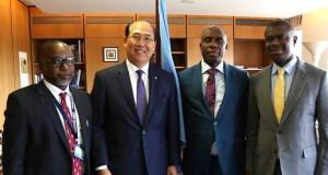 NIMASA DG, Dakuku Peterside, Minister of Transportation, Rt. Hon. Rotimi Chibuike Amaechi, IMO Secretary General Mr. Kitack Lim and Nigeria's Alternate Permanent Representative (APR) to the IMO, Diko Bala