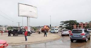 Police take position in a street in Abidjan