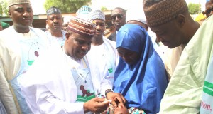 Gov. Tambuwal flagging off Polio immunisation in Sokoto