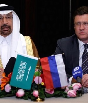 Saudi Energy Minister Khalid al-Falih and Russian Alexander Novak