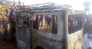 The burnt vehicle involved in the accident