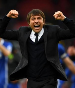 Chelsea manager, Antonio Conte celebrating Premier League victory