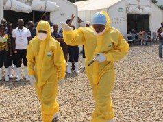 Health officials at one of the Ebola isolation centres