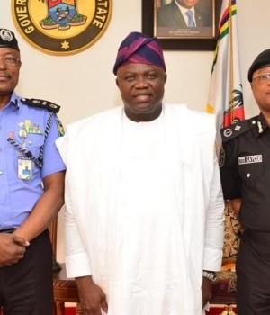 AIG Ibrahim Adamu, Gov. Ambode and Dep. Commissioner of Police, Zone 2, Titilayo Kayode