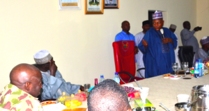 Gov. Shettima(standing) addresses COAS and his team