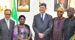 Dr. Adebule (2nd left) MD, World Bank, Joaquim Levy (middle); Country Director, World Bank, Rachid Benmessaoud (left); Secretary to the State Government, Mr. Tunji Bello (2nd right) and Commissioner for Finance/ Economic Planning & Budget, Mr. Akinyemi Ashade (right)