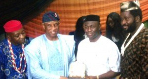 Chief of Staff, Adewale Jafojo receiving the award on behalf of Obasa