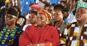 Lagos dep. Gov. Idiat Adebule(m), flanked by Speaker Obasa(r) and SA to Ambode, Kehinde Joseph