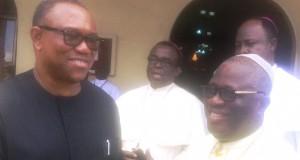Peter Obi shakes Archbishop Chukwuemeka Kanu
