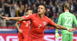 Sanchez celebrates after scoring Chile's goal against Germany